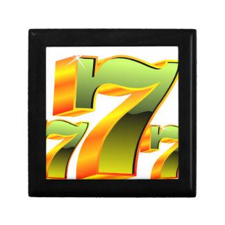Kasinoillustration med grönt sevens. presentskrin
