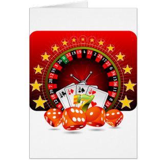 Kasinoillustrationen med rouletten rullar och hälsningskort