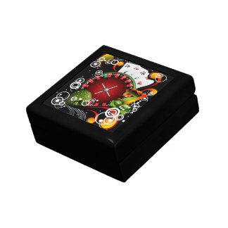 Kasinoillustrationen med rouletten rullar och smyckeskrin