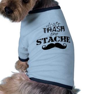 Kassera inte den Retro hipsteren för den Stache mu Hund Tee Shirt