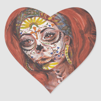 Kassör för day of the deadTarot förmögenhet Hjärtformat Klistermärke