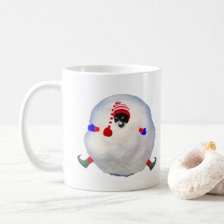 Kasta snöboll kattmuggen kaffemugg