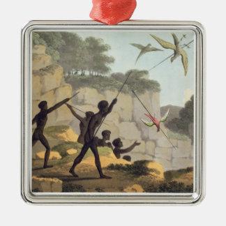 Kasta spjut, aborigines som jagar fåglar från julgransprydnad metall