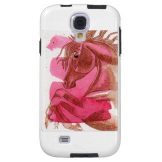 Kastanjebrun häst på shock rosavattenfärgfodral galaxy s4 fodral