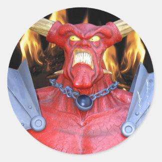 Kåt djävulenman runt klistermärke