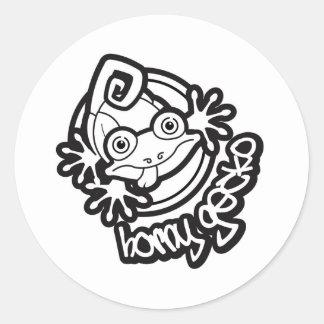 Kåt logotyp b/w för Gecko 01 Runt Klistermärke