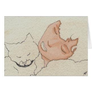 Kat och kattCricketDiane konst & design Hälsningskort