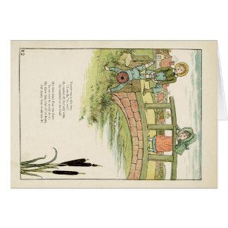 Kate Greenaway barns illustration Hälsningskort