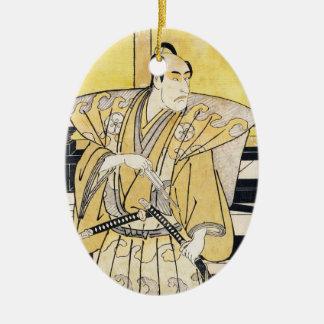 Katsukawa Shunsho skådespelare som SamuraiKatana Julgransprydnad Keramik