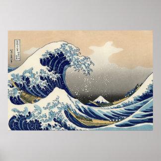 Katsushika Hokusai: Underbaren vinkar av Kanagawa Poster