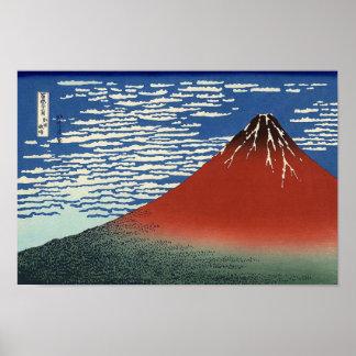 Katsushika Hokusais röda Fuji Poster