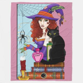 Katt, bok och stearinljus fleecefilt