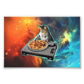 Katt dj med diskjockey solida bord fototryck