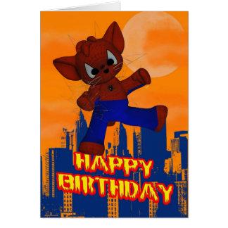 Katt för födelsedagkortspindel hälsningskort