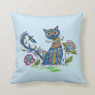 Katt för Folk konst med inställning Kudde
