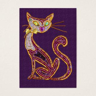 Katt för Pryda med pärlor-Look juvelkonst Visitkort