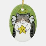 Katt för silverTabbyängel med stjärnaprydnaden Jul Dekorationer
