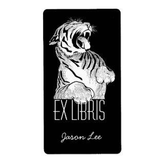 Katt för tiger för bokägarmärkeexlibrisvit stor på fraktsedel