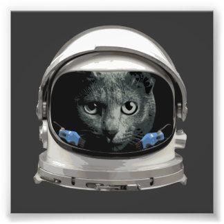 Katt för utrymmehjälmastronaut fototryck