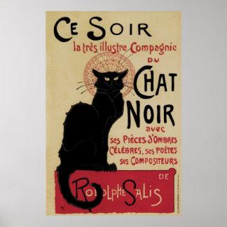 Katt för vintageart nouveausvart poster
