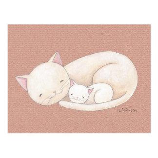 Katt för vykort för konst för mamma & för baby för