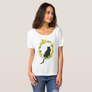 Katt i blom- kranskjorta t shirts
