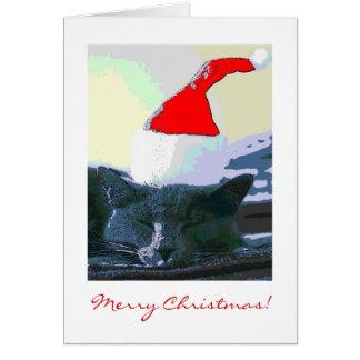 Katt i den Santa hatten, julkort Hälsningskort