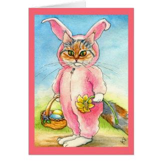 Katt i ett kort för kaninkostympåsk