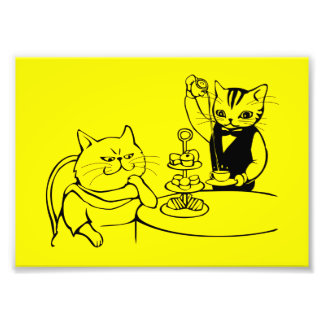 katt i inställning, för kattportion för servitör fototryck