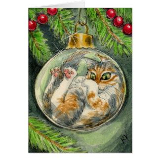 Katt i julprydnadkortet hälsningskort