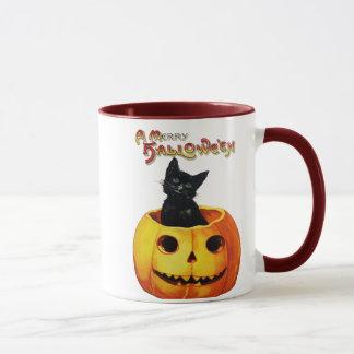 Katt i mugg för pumpavintageHalloween kaffe