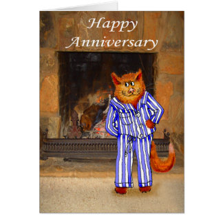 Katt i Pyjamas, lycklig årsdag Hälsningskort