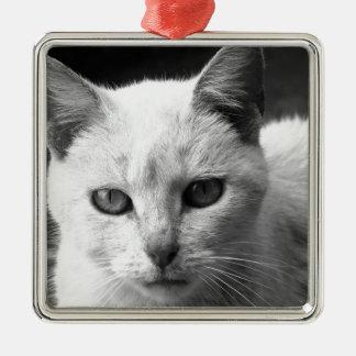 katt julgransprydnad metall