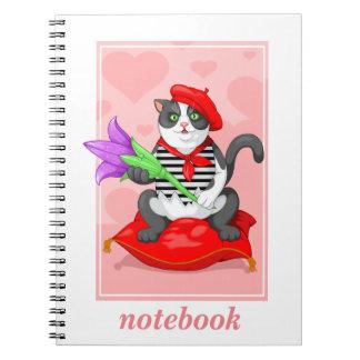 katt med blomman anteckningsbok med spiral