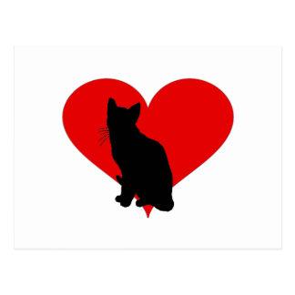 Katt med en stor hjärta vykort