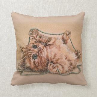 Katt med garnteckningen av det älsklings- porträtt kudde