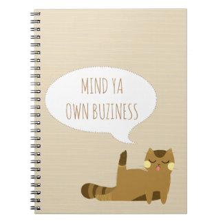 Katt med inställning anteckningsbok