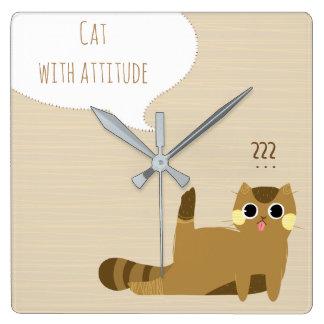 Katt med inställning fyrkantig klocka