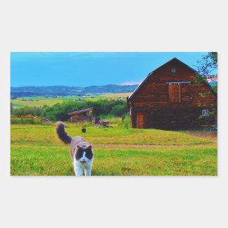 Katt med ladugårdar rektangulärt klistermärke