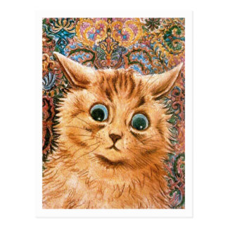 Katt med tapetbakgrund Louis Wain Vykort