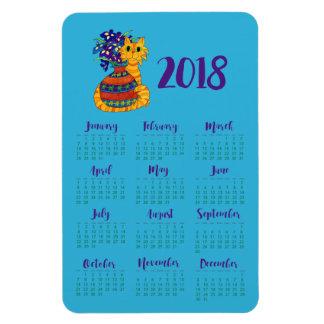 Katt med vasen av kalenderkylen för Irises 2018 Magnet