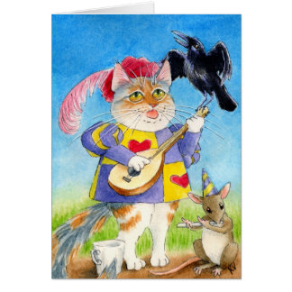 Katt-, mus- och kråkavalentin kort för barder för