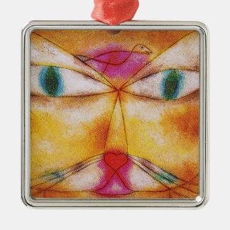 Katt och fågel - abstrakt konst - Paul Klee Julgransprydnad Metall