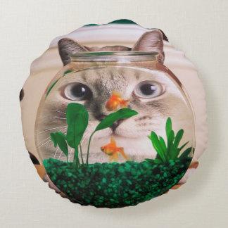 Katt och fisk - katt - roliga katter - galen katt rund kudde