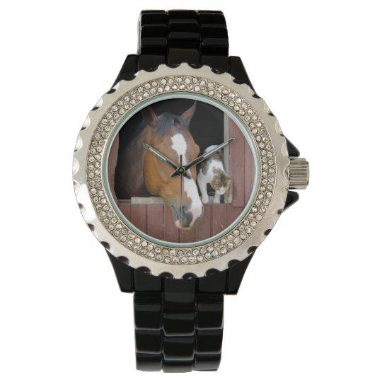 Katt och häst - hästranch - hästälskare armbandsur