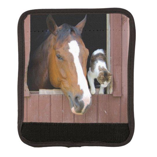 Katt och häst - hästranch - hästälskare bagagehandtagskydd