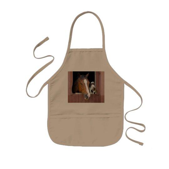 Katt och häst - hästranch - hästälskare barnförkläde
