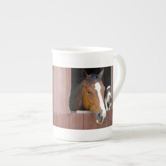 Katt och häst - hästranch - hästälskare bone china kopp
