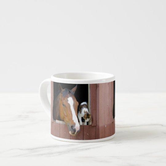 Katt och häst - hästranch - hästälskare espressomugg