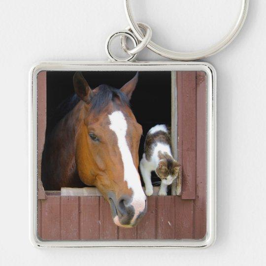 Katt och häst - hästranch - hästälskare fyrkantig silverfärgad nyckelring